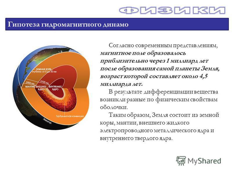 Гипотеза гидромагнитного динамо Согласно современным представлениям, магнитное поле образовалось приблизительно через 1 миллиард лет после образования самой планеты Земля, возраст которой составляет около 4,5 миллиарда лет. В результате дифференциаци