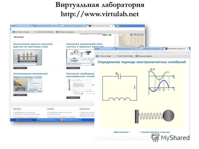Виртуальная лаборатория http://www.virtulab.net