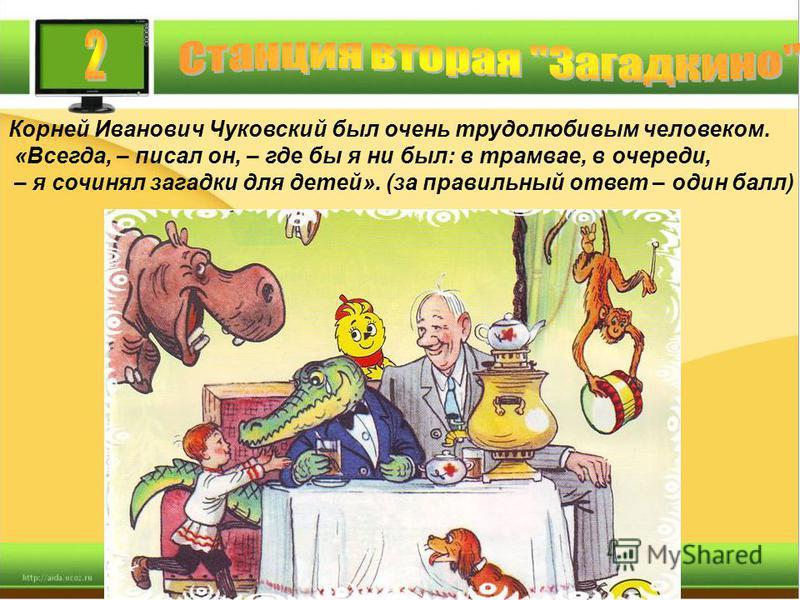 Корней Иванович Чуковский был очень трудолюбивым человеком. «Всегда, – писал он, – где бы я ни был: в трамвае, в очереди, – я сочинял загадки для детей». (за правильный ответ – один балл)