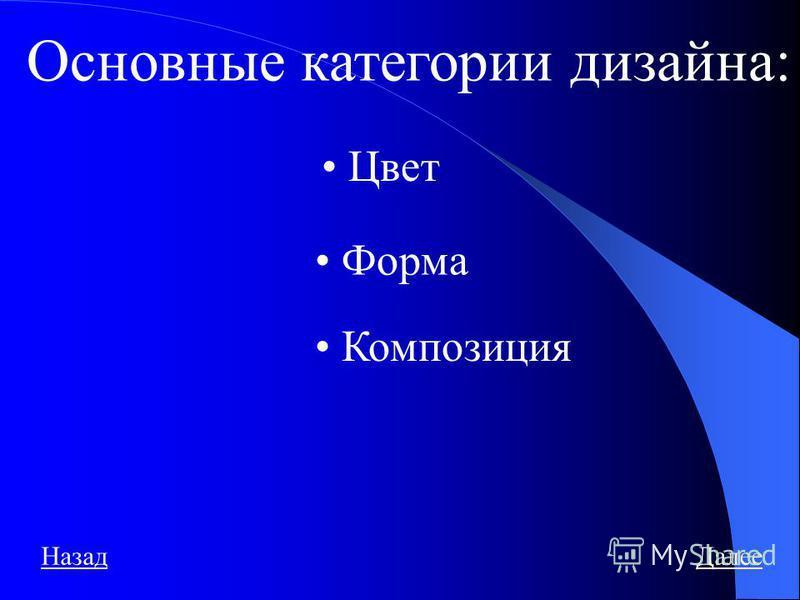 Основные категории дизайна: Цвет Форма Композиция Назад Далее