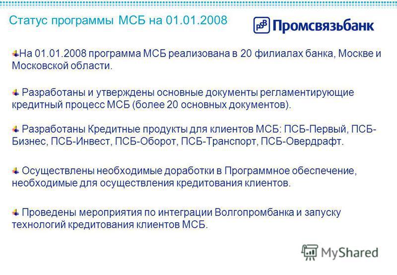 Статус программы МСБ на 01.01.2008 На 01.01.2008 программа МСБ реализована в 20 филиалах банка, Москве и Московской области. Разработаны и утверждены основные документы регламентирующие кредитный процесс МСБ (более 20 основных документов). Разработан