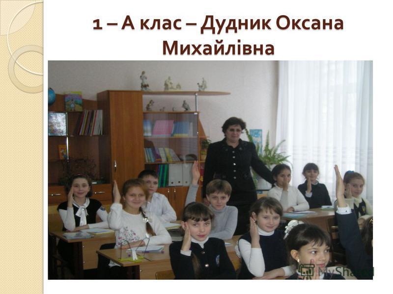 1 – А клас – Дудник Оксана Михайлівна 1 – А клас – Дудник Оксана Михайлівна