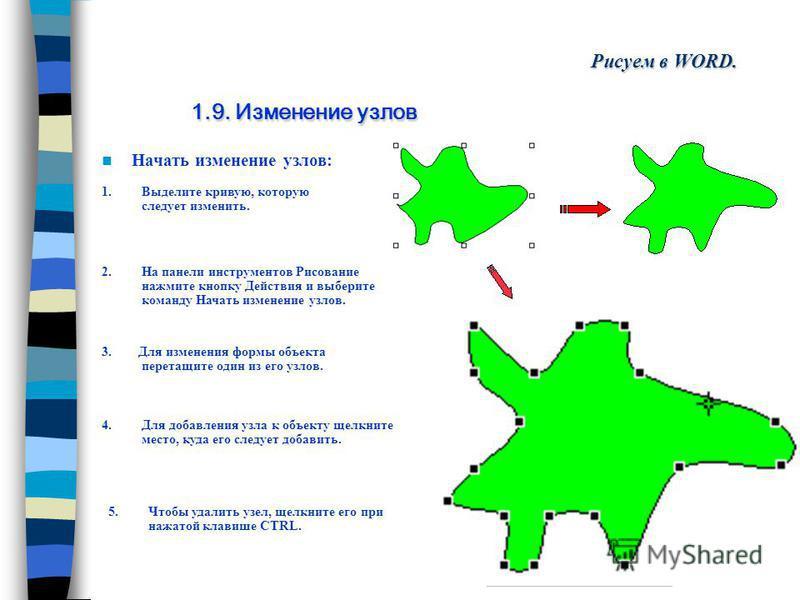 Повернуть/отразить: 3. Отражение графического объекта сверху вниз Рисуем в WORD. 1.8. Поворот и отражение графического объекта 4. Отражение графического объекта слева направо Выделите объект, который следует отразить. На панели инструментов Рисование