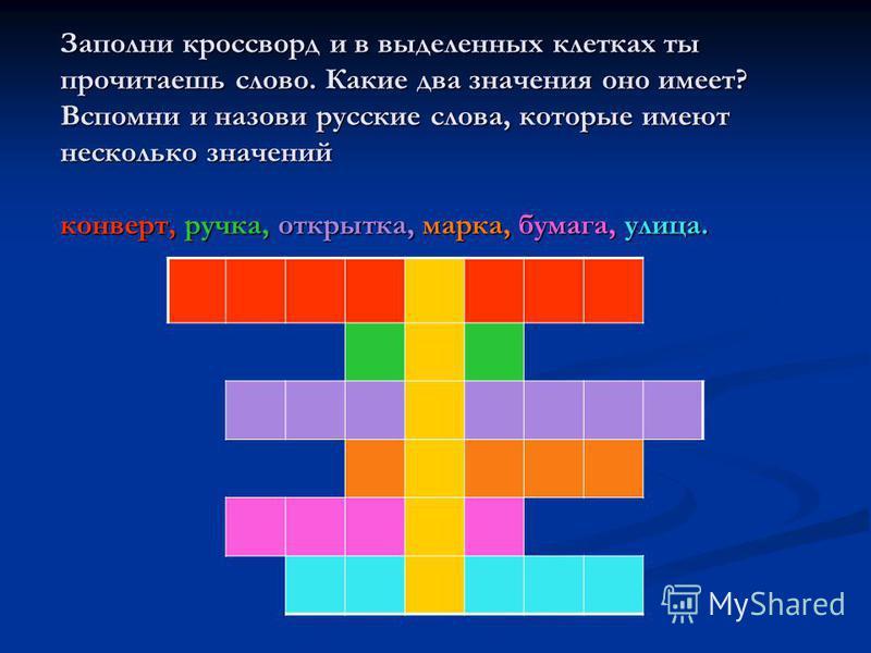 Заполни кроссворд и в выделенных клетках ты прочитаешь слово. Какие два значения оно имеет? Вспомни и назови русские слова, которые имеют несколько значений конверт, ручка, открытка, марка, бумага, улица.
