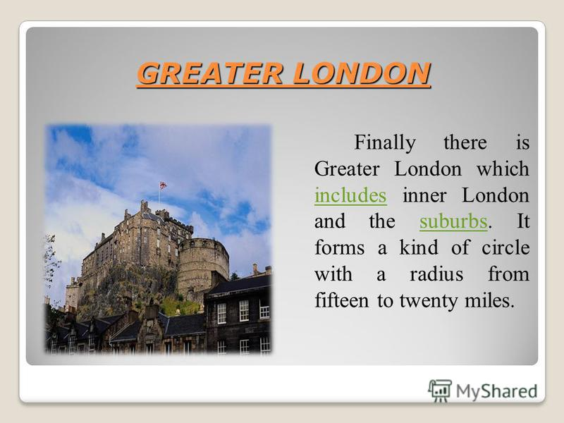 GREATER LONDON Finally there is Greater London which includes inner London and the suburbs. It forms a kind of circle with a radius from fifteen to twenty miles. includessuburbs