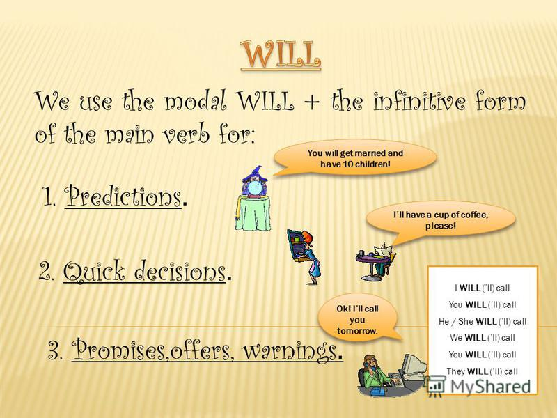 We use the modal WILL + the infinitive form of the main verb for: 1. Predictions. You will get married and have 10 children! 2. Quick decisions. Ill have a cup of coffee, please! 3. Promises,offers, warnings. Ok! Ill call you tomorrow. I WILL (ll) ca