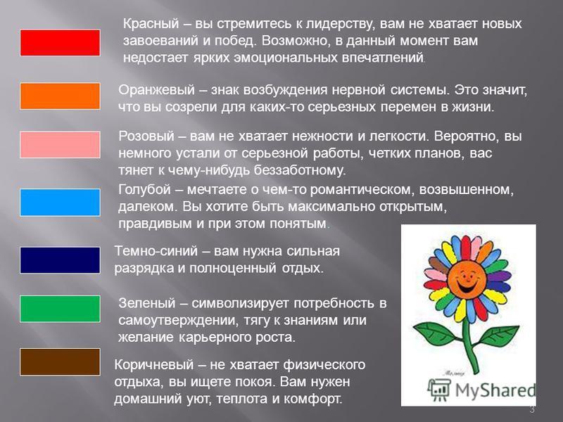 3 Красный – вы стремитесь к лидерству, вам не хватает новых завоеваний и побед. Возможно, в данный момент вам недостает ярких эмоциональных впечатлений. Оранжевый – знак возбуждения нервной системы. Это значит, что вы созрели для каких-то серьезных п