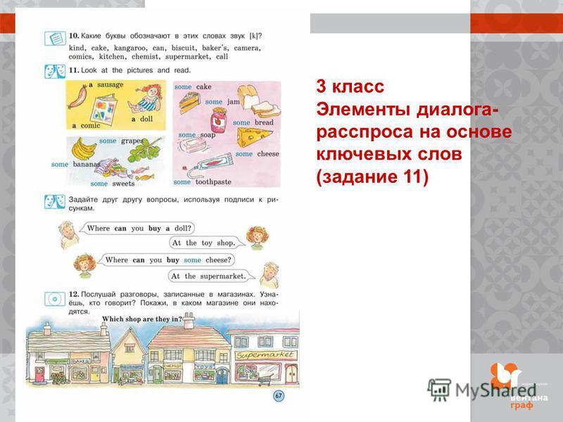 3 класс Элементы диалога- расспроса на основе ключевых слов (задание 11)