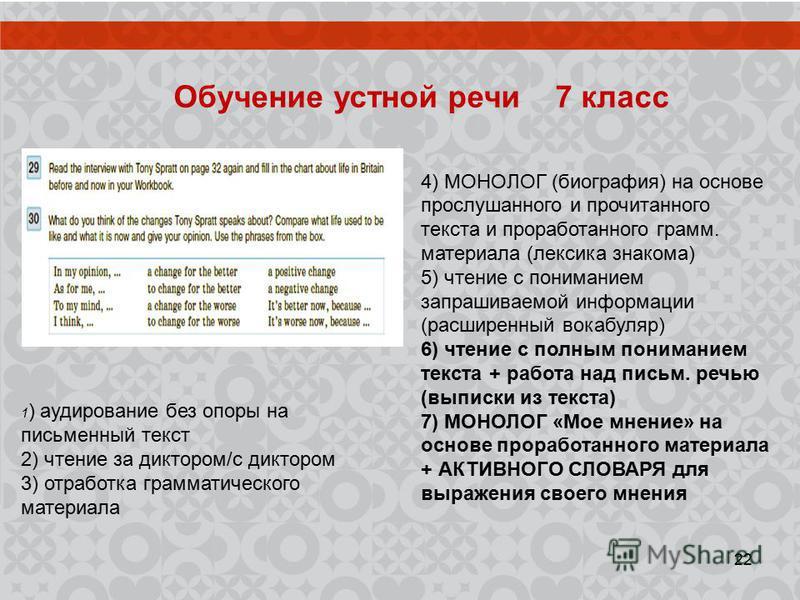 Обучение устной речи 7 класс 4) МОНОЛОГ (биография) на основе прослушанного и прочитанного текста и проработанного грамм. материала (лексика знакома) 5) чтение с пониманием запрашиваемой информации (расширенный вокабуляр) 6) чтение с полным понимание