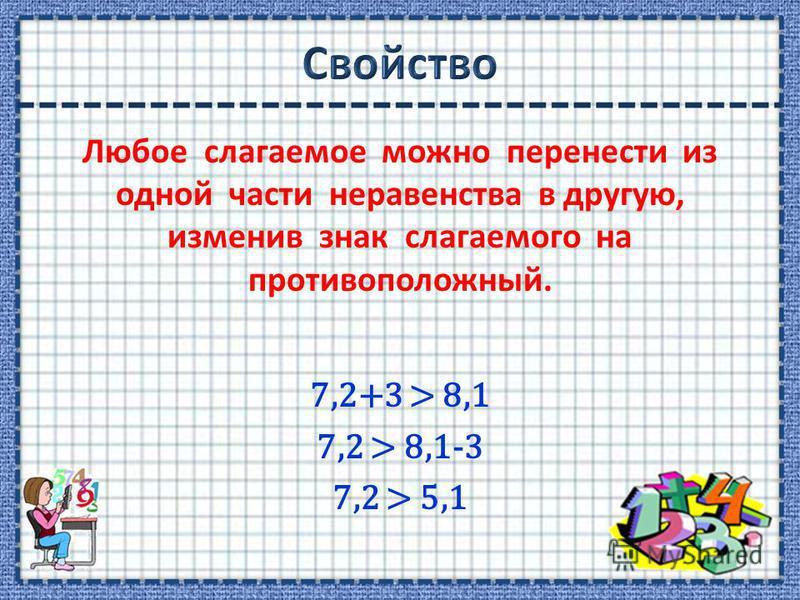 Любое слагаемое можно перенести из одной части неравенства в другую, изменив знак слагаемого на противоположный. 7,2+3 > 8,1 7,2 > 8,1-3 7,2 > 5,1