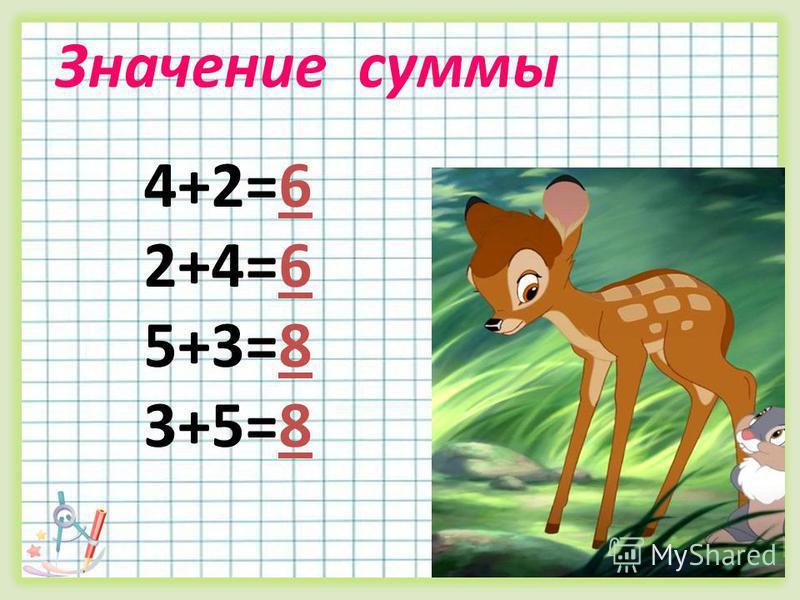 Значение суммы 4+2=6 2+4=6 5+3=8 3+5=8