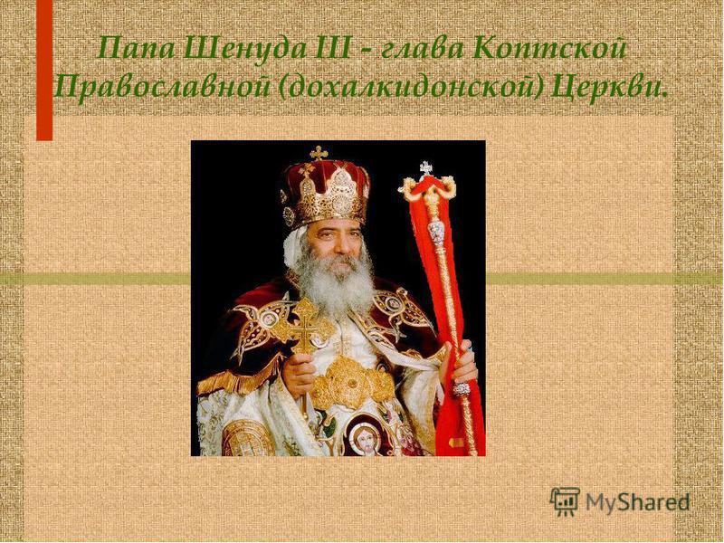 Папа Шенуда III - глава Коптской Православной (дохалкидонской) Церкви.