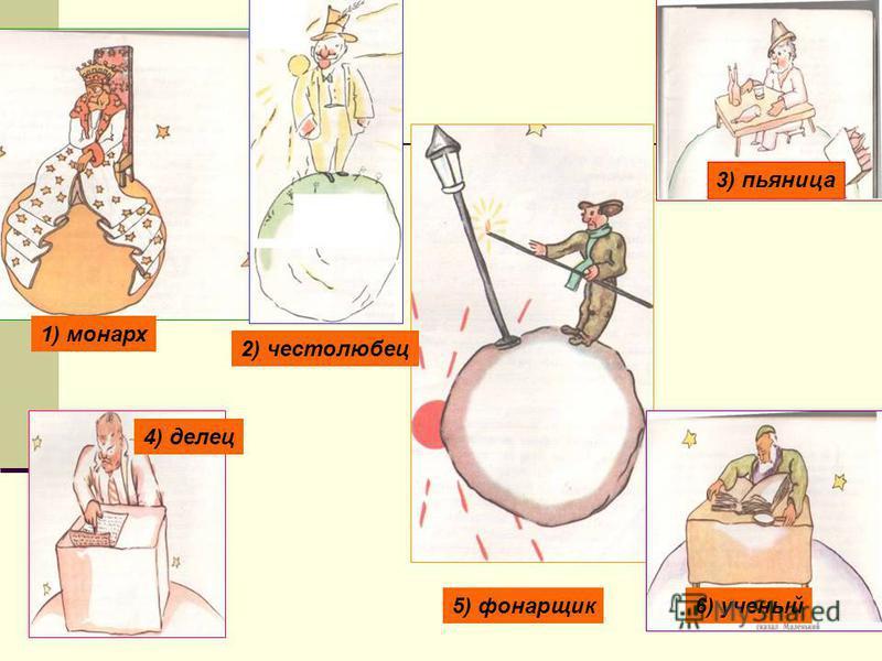 1) монарх 3) пьяница 2) честолюбец 4) делец 6) ученый 5) фонарщик