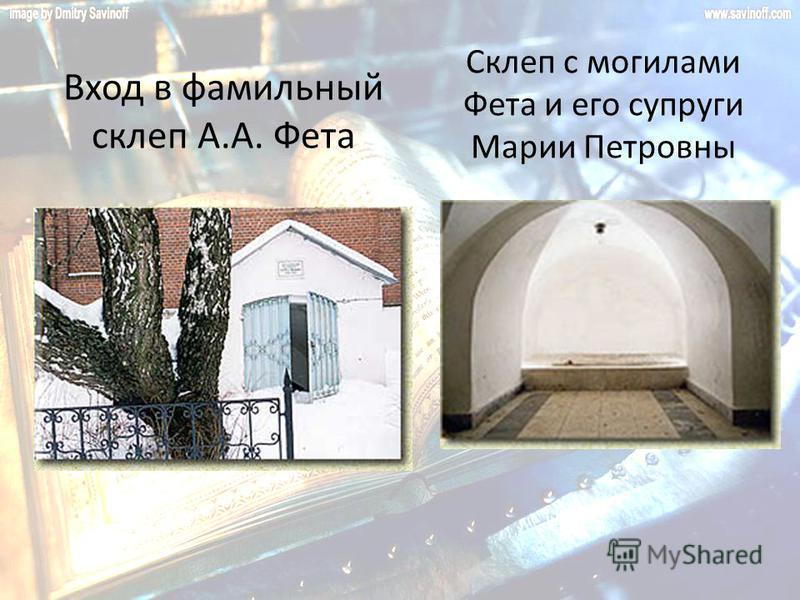 Вход в фамильный склеп А.А. Фета Склеп с могилами Фета и его супруги Марии Петровны