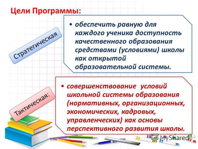 обеспечить равную для каждого ученика доступность качественного образования средствами (условиями) школы как открытой образовательной системы. Стратегическая совершенствование условий школьной системы образования (нормативных, организационных, эконом