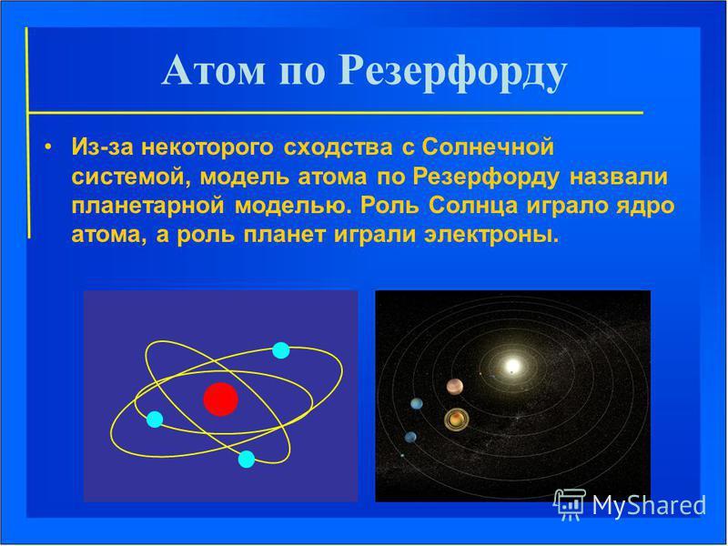 Атом по Резерфорду Из-за некоторого сходства с Солнечной системой, модель атома по Резерфорду назвали планетарной моделью. Роль Солнца играло ядро атома, а роль планет играли электроны.