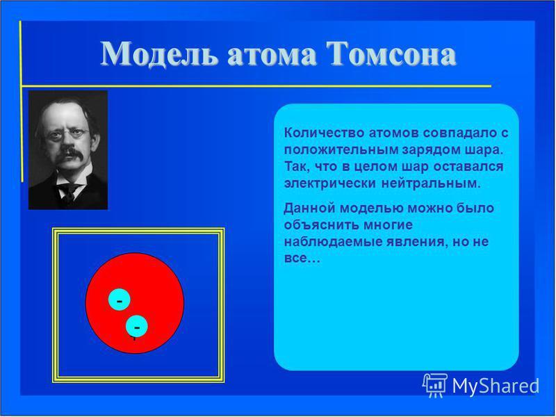 Количество атомов совпадало с положительным зарядом шара. Так, что в целом шар оставался электрически нейтральным. Данной моделью можно было объяснить многие наблюдаемые явления, но не все… + - -