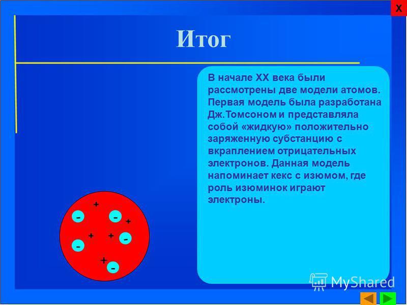 Итог В начале ХХ века были рассмотрены две модели атомов. Первая модель была разработана Дж.Томсоном и представляла собой «жидкую» положительно заряженную субстанцию с вкраплением отрицательных электронов. Данная модель напоминает кекс с изюмом, где