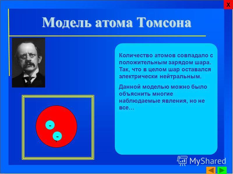 Количество атомов совпадало с положительным зарядом шара. Так, что в целом шар оставался электрически нейтральным. Данной моделью можно было объяснить многие наблюдаемые явления, но не все… + - - Х