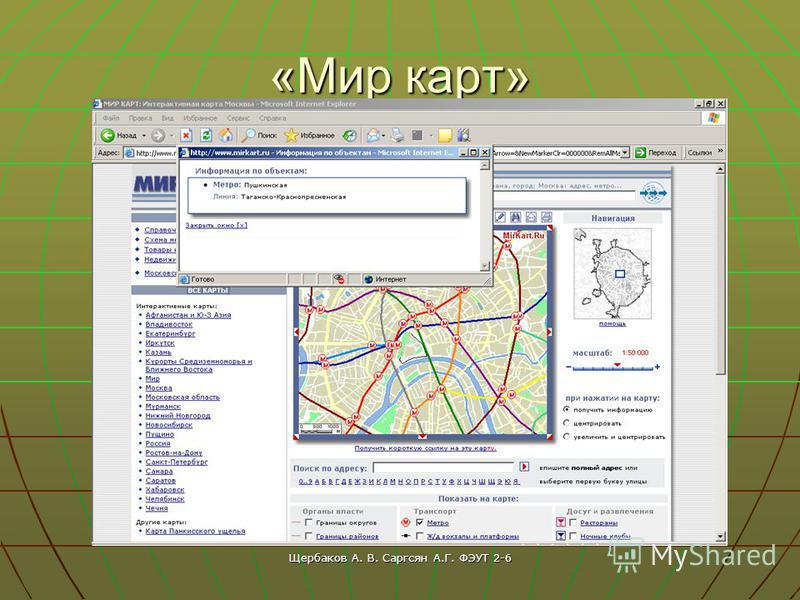 Щербаков А. В. Саргсян А.Г. ФЭУТ 2-6 «Мир карт»