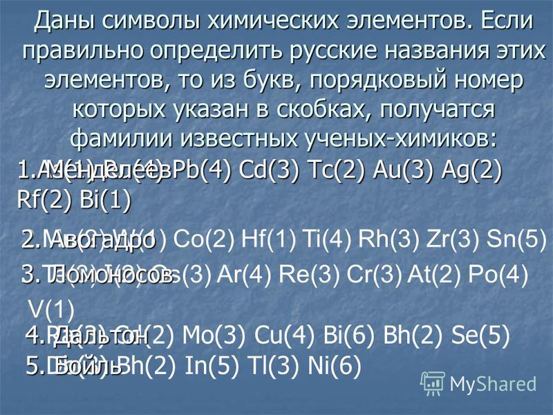 Даны символы химических элементов. Если правильно определить русские названия этих элементов, то из букв, порядковый номер которых указан в скобках, получатся фамилии известных ученых-химиков: 1.As(1) Ru(4) Pb(4) Cd(3) Tc(2) Au(3) Ag(2) Rf(2) Bi(1) 2