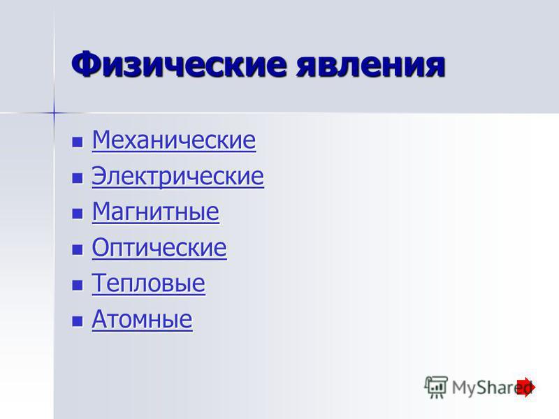 Физические явления Механические Механические Механические Электрические Электрические Электрические Магнитные Магнитные Магнитные Оптические Оптические Оптические Тепловые Тепловые Тепловые Атомные Атомные Атомные