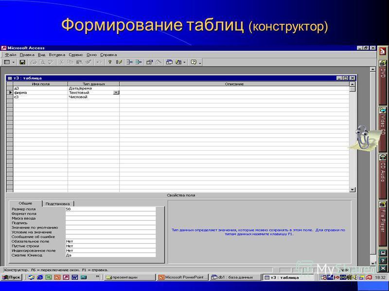 Формирование таблиц (конструктор)