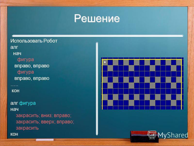 Решение Использовать Робот алг нач фигура вправо, вправо фигура вправо, вправо ….. кон алг фигура нач закрасить; вниз; вправо; закрасить; вверх; вправо; закрасить кон