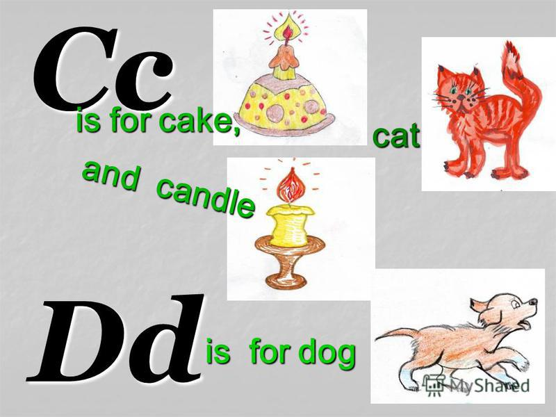 Cc Dd is for cake, cat and candle is for dog