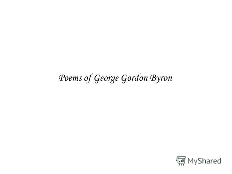 Poems of George Gordon Byron