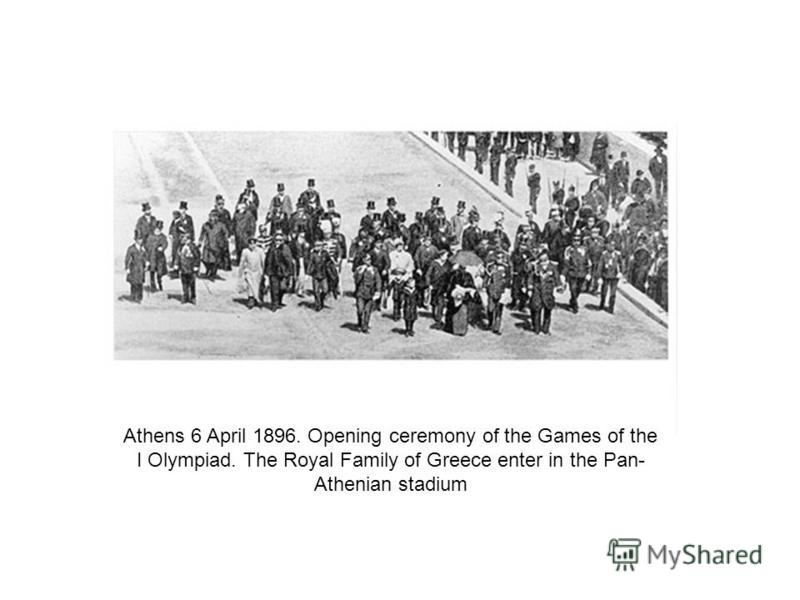 Athens 6 April 1896. Opening ceremony of the Games of the I Olympiad. The Royal Family of Greece enter in the Pan- Athenian stadium