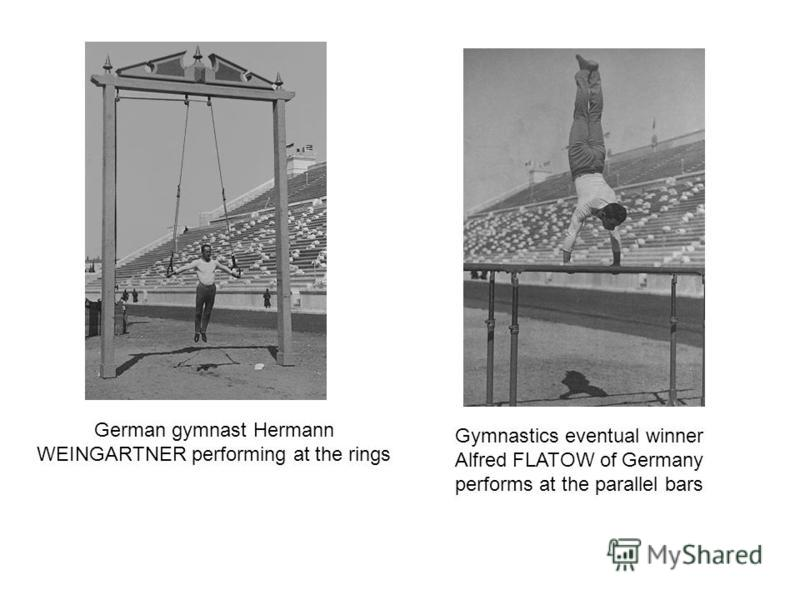 German gymnast Hermann WEINGARTNER performing at the rings Gymnastics eventual winner Alfred FLATOW of Germany performs at the parallel bars