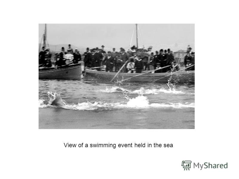 View of a swimming event held in the sea