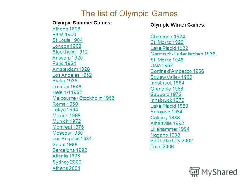 The list of Olympic Games Olympic Summer Games: Athens 1896 Paris 1900 St Louis 1904 London 1908 Stockholm 1912 Antwerp 1920 Paris 1924 Amsterdam 1928 Los Angeles 1932 Berlin 1936 London 1948 Helsinki 1952 Melbourne / Stockholm 1956 Rome 1960 Tokyo 1