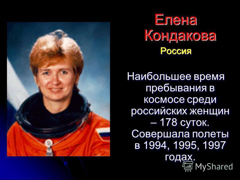 Елена Кондакова Россия Наибольшее время пребывания в космосе среди российских женщин – 178 суток. Совершала полеты в 1994, 1995, 1997 годах.