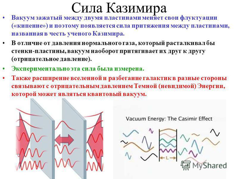 Сила Казимира Вакуум зажатый между двумя пластинами меняет свои флуктуации («кипение») и поэтому появляется сила притяжения между пластинами, названная в честь ученого Казимира. В отличие от давления нормального газа, который расталкивал бы стенки-пл