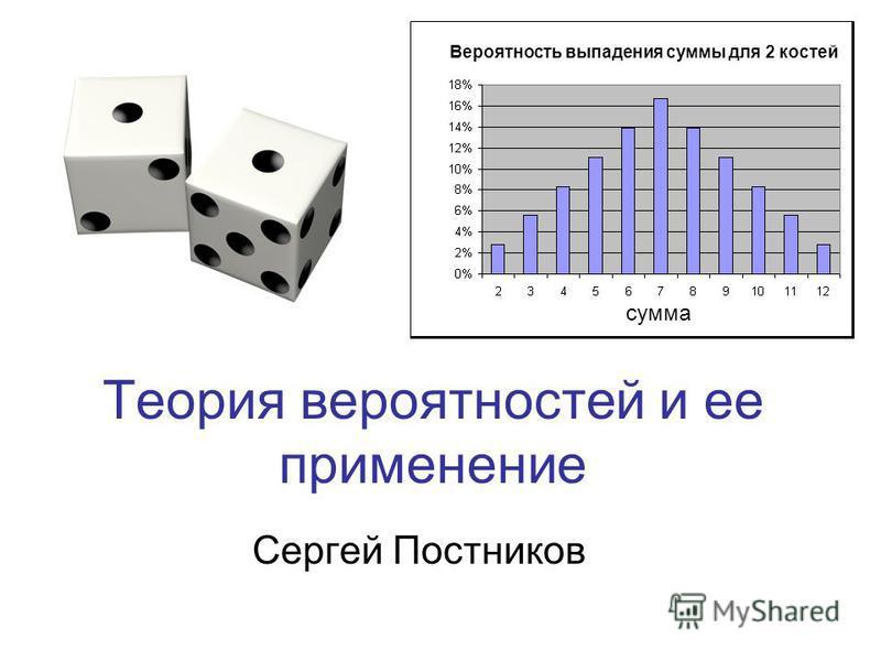 Теория вероятностей и ее применение Сергей Постников сумма Верояюность выпадения суммы для 2 костей