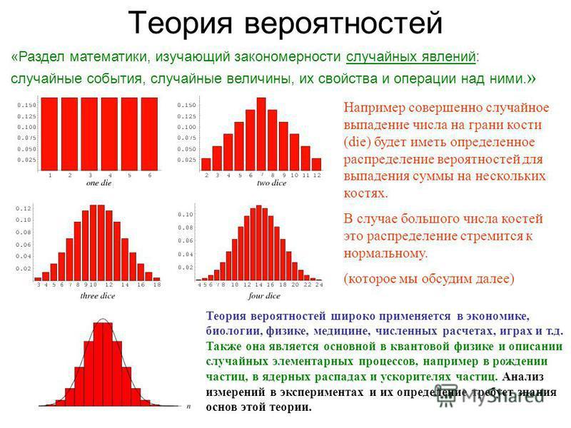 Теория вероятностей Теория вероятностей широко применяется в экономике, биологии, физике, медицине, численных расчетах, играх и т.д. Также она является основной в квантовой физике и описании случайных элементарных процессов, например в рождении части