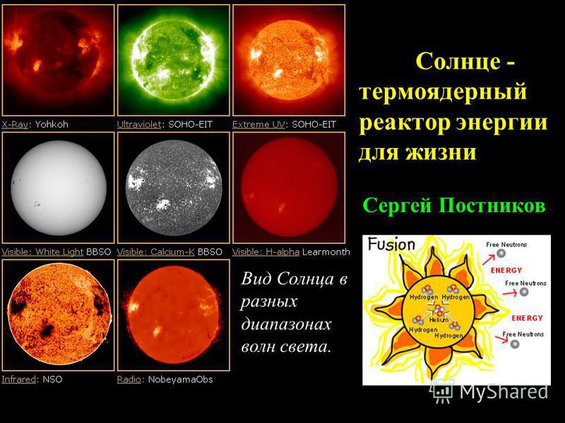 Солнце - термоядерный реактор энергии для жизни Сергей Постников Вид Солнца в разных диапазонах волн света.