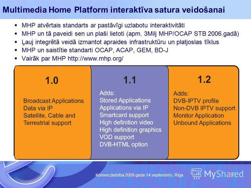 Komercdarbība 2009.gada 14.septembris, Rīga 21 Multimedia Home Platform interaktīva satura veidošanai MHP atvērtais standarts ar pastāvīgi uzlabotu interaktivitāti MHP un tā paveidi sen un plaši lietoti (apm. 3Milj MHP/OCAP STB 2006.gadā) Ļauj integr