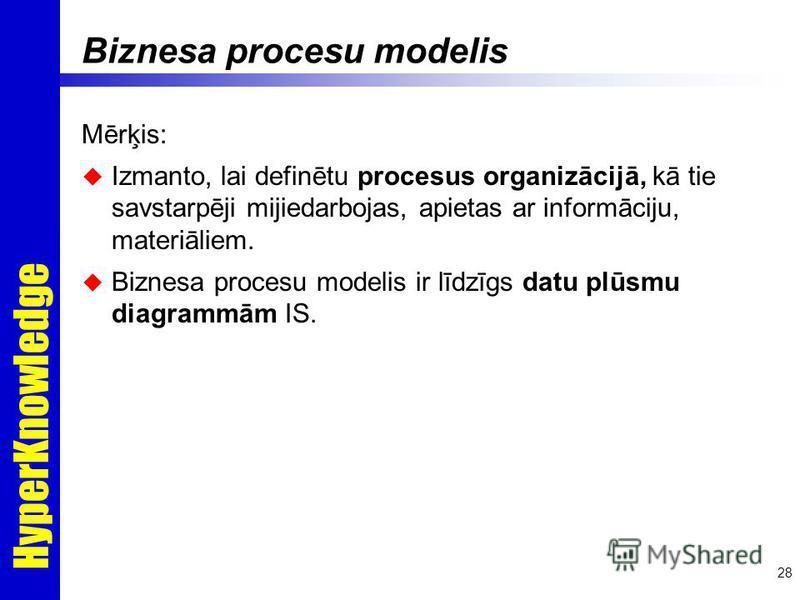 HyperKnowledge 28 Biznesa procesu modelis Mērķis: Izmanto, lai definētu procesus organizācijā, kā tie savstarpēji mijiedarbojas, apietas ar informāciju, materiāliem. Biznesa procesu modelis ir līdzīgs datu plūsmu diagrammām IS.