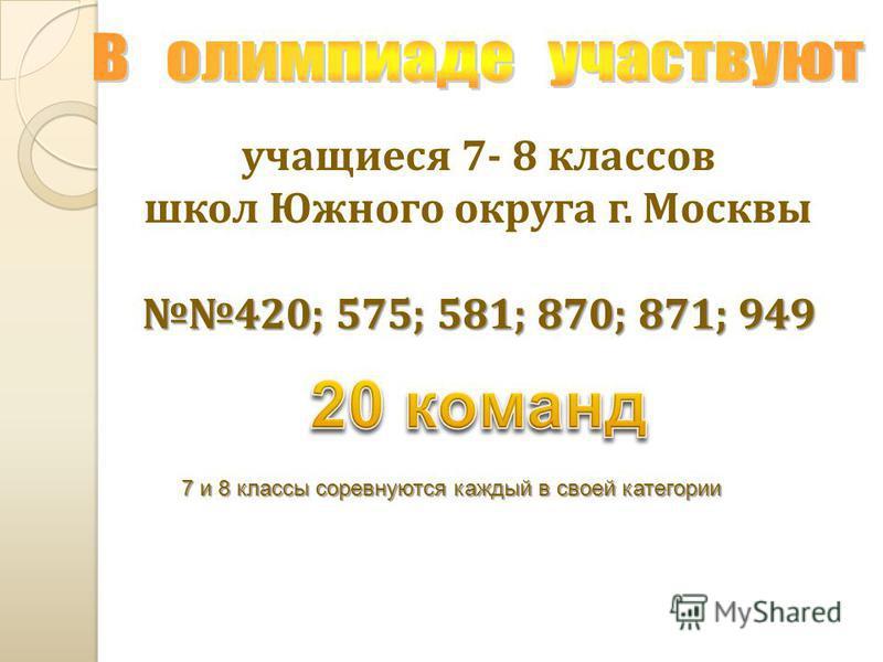 учащиеся 7- 8 классов школ Южного округа г. Москвы 420; 575; 581; 870; 871; 949 7 и 8 классы соревнуются каждый в своей категории