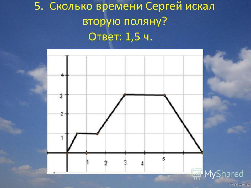 5. Сколько времени Сергей искал вторую поляну? Ответ: 1,5 ч.