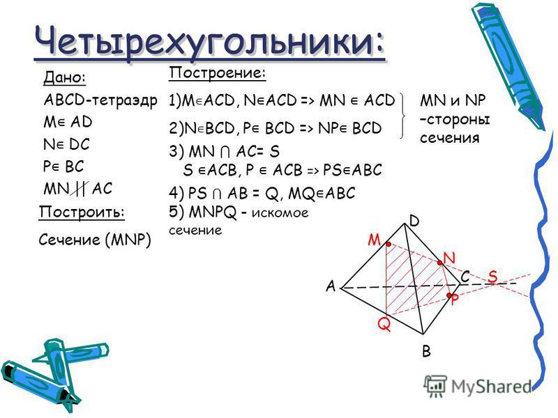 3) MN AC= S S ACВ, Р ACВ => PS ABC Четырехугольники: Четырехугольники: Дано: ABCD-тетраэдр М АD N DC P BC MN || AC Построение: 1)M ACD, N ACD => MN ACD 2)N BCD, P BCD => NP BCD MN и NP –стороны сечения M S P Q N D A B C Построить: Сечение (MNP) 5) MN