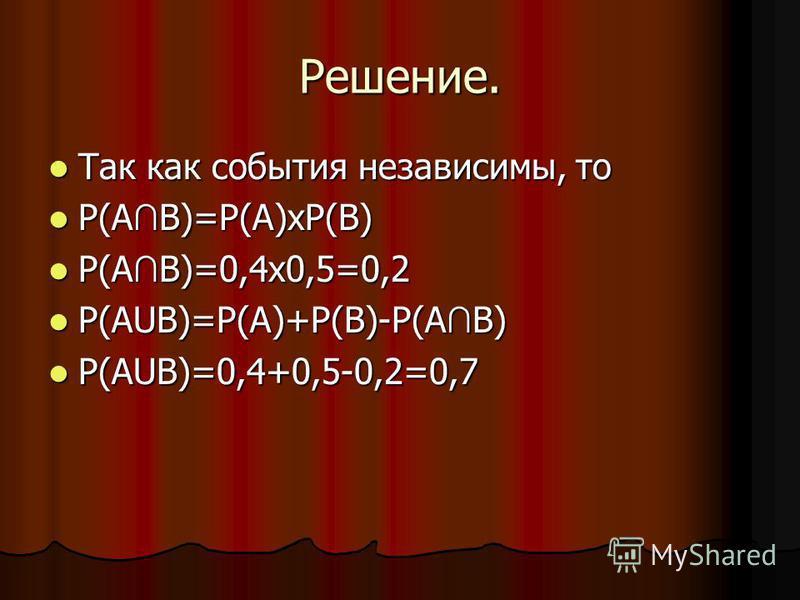 Решение. Так как события независимы, то Так как события независимы, то P(A B)=P(A)хP(B) P(A B)=P(A)хP(B) P(A B)=0,4 х 0,5=0,2 P(A B)=0,4 х 0,5=0,2 Р(АUB)=P(A)+P(B)-P(A B) Р(АUB)=P(A)+P(B)-P(A B) Р(АUB)=0,4+0,5-0,2=0,7 Р(АUB)=0,4+0,5-0,2=0,7