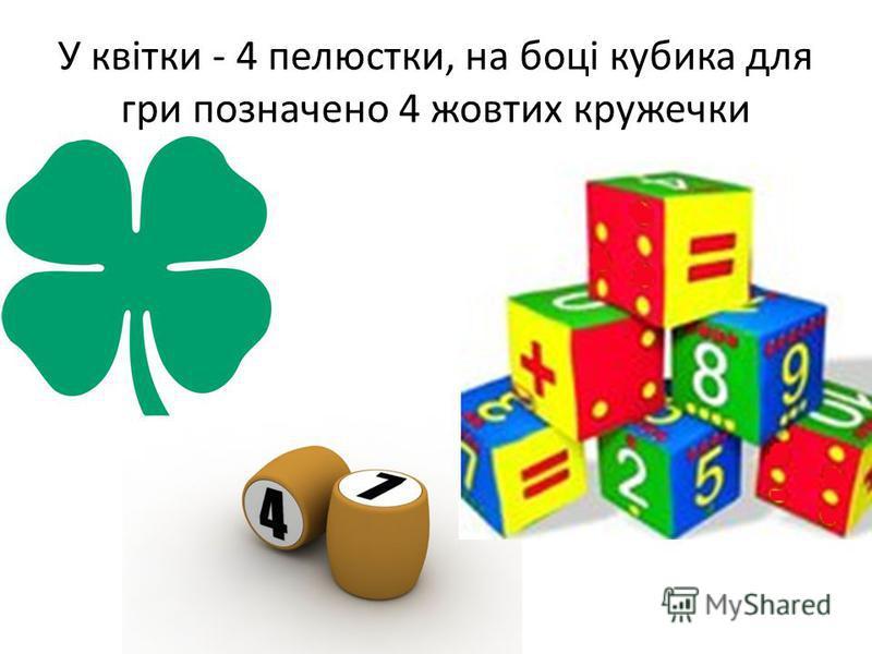 У квітки - 4 пелюстки, на боці кубика для гри позначено 4 жовтих кружечки