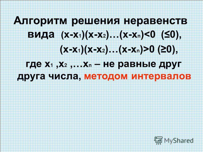 Алгоритм решения неравенств вида ( х-х 1 )(х-х 2 )…(х-х n )<0 (0), (х-х 1 )(х-х 2 )…(х-х n )>0 (0), где х 1,х 2,…х n – не равные друг друга числа, методом интервалов
