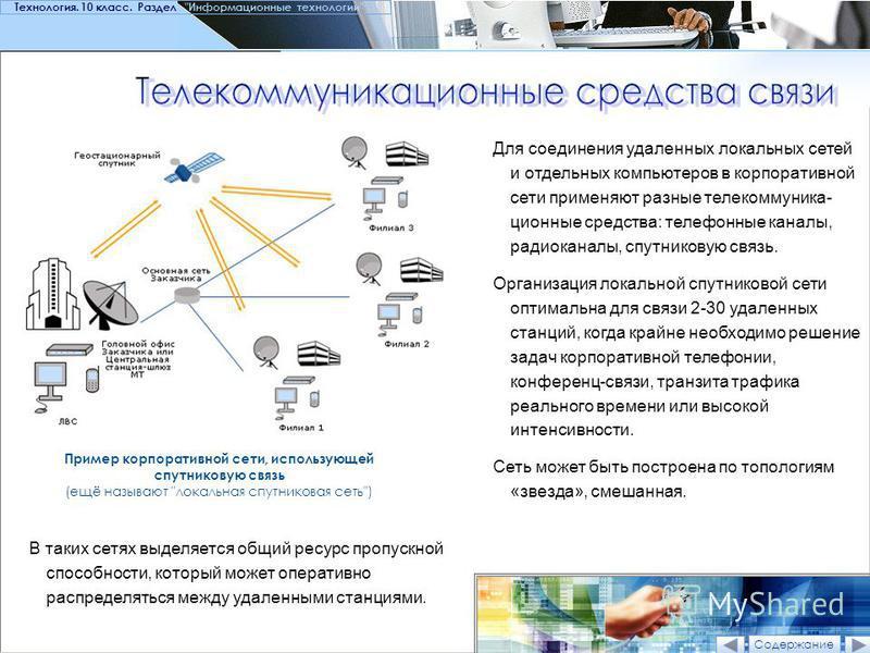 Пример корпоративной сети, использующей спутниковую связь (ещё называют