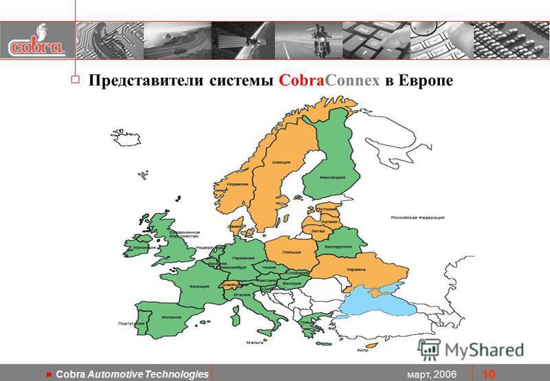 март, 2006 Cobra Automotive Technologies 10 Представители системы CobraConnex в Европе
