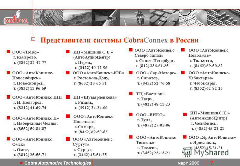 март, 2006 Cobra Automotive Technologies 7 ООО «Авто Коннекс- Новосибирск» г. Новосибирск, т. (3832) 11-96-69 Представители системы CobraConnex в России ООО «Авто Коннекс- Северо-запад» г. Санкт-Петербург, т. (812) 336-61-85 ТЦ «Бастион» г. Тверь, т.
